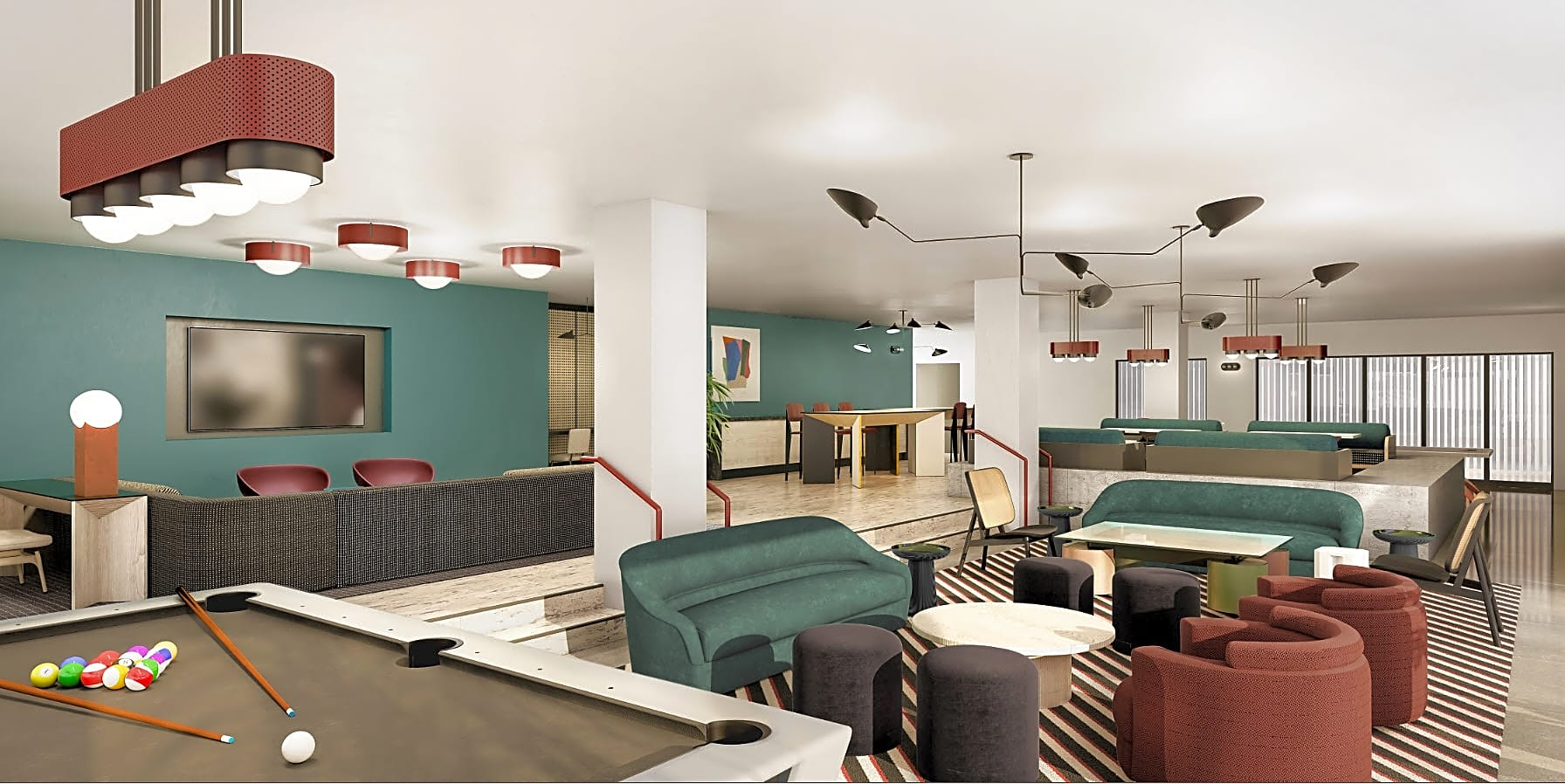 Newly Designed Game Room & Resident Lounge Coming Soon!  *Rendering may not reflect final installation.
