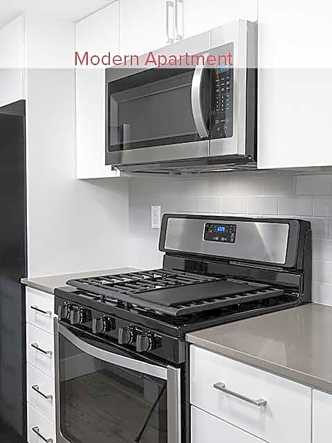 Newly renovated kitchen with stainless steel appliances (in select apartments)