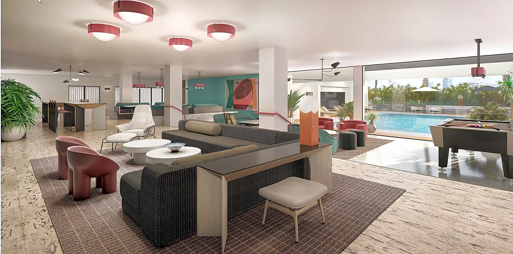 Newly Designed Resident Lounge Overlooking Pool Coming in 2019!   *Rendering may not reflect final installation.
