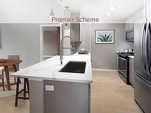 Premier Scheme Kitchen with Hard Surface Vinyl Plank Flooring