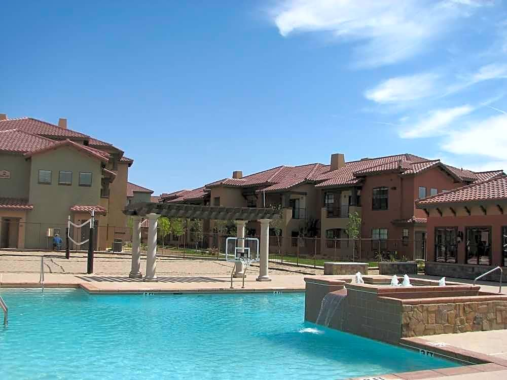 Resort-style pool and sand volleyball court