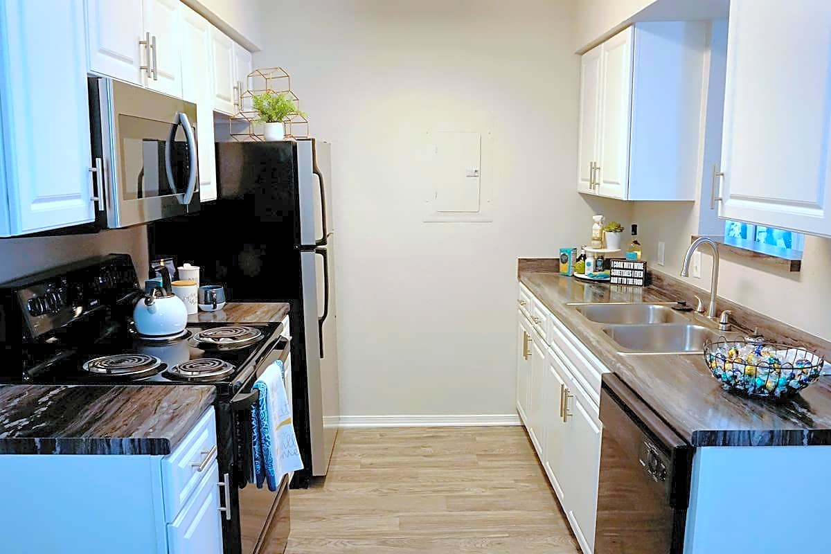 Kitchens are fully applianced, including a microwave and dishwasher for your convenience!