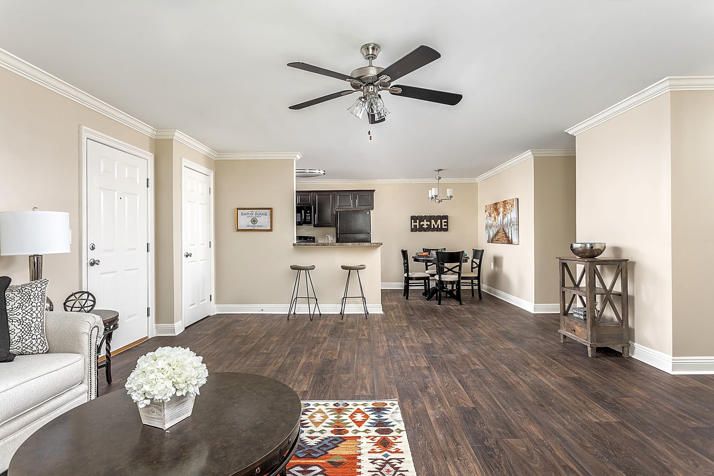 Open Living and Dining Room - Live Oak Trace Apartments