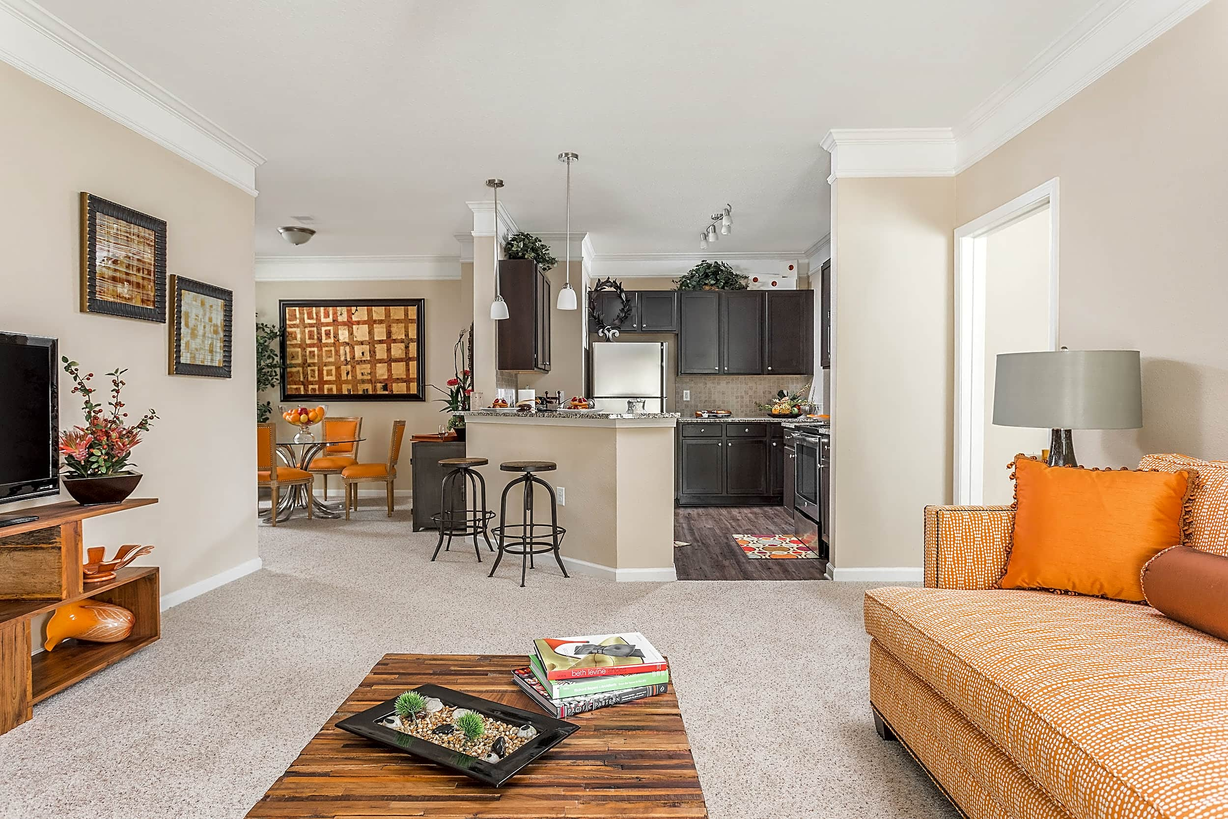 Open Living Room, Kitchen and Dining Room - Waterstone at Brier Creek