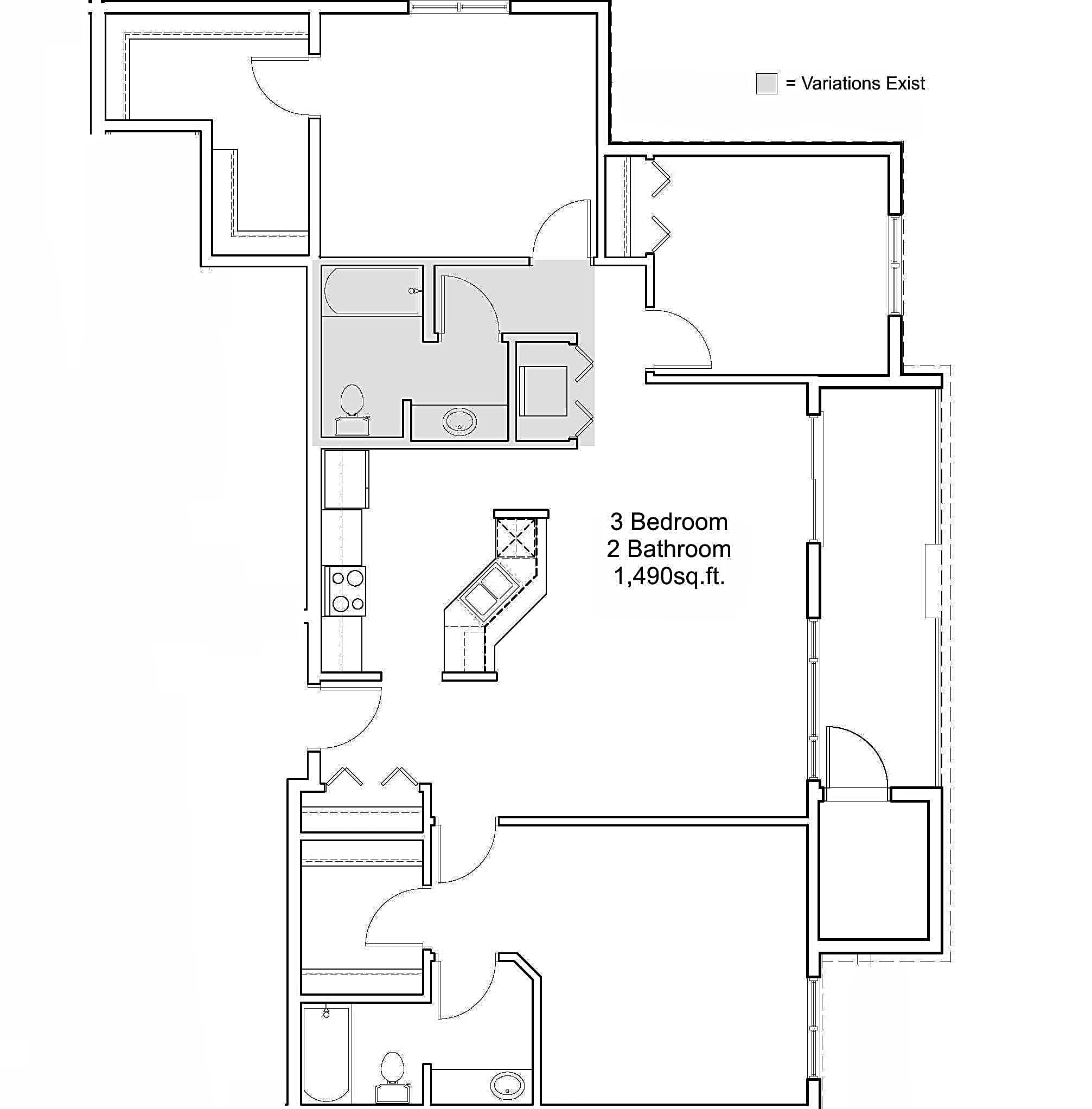 3 Bedroom 2 Bathroom Floor Plan