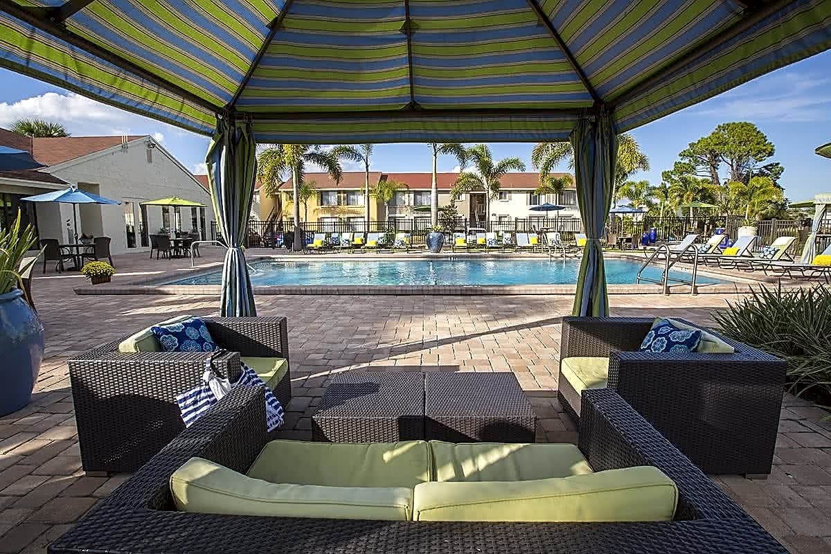 Relax by the pool under one of the new cabanas.