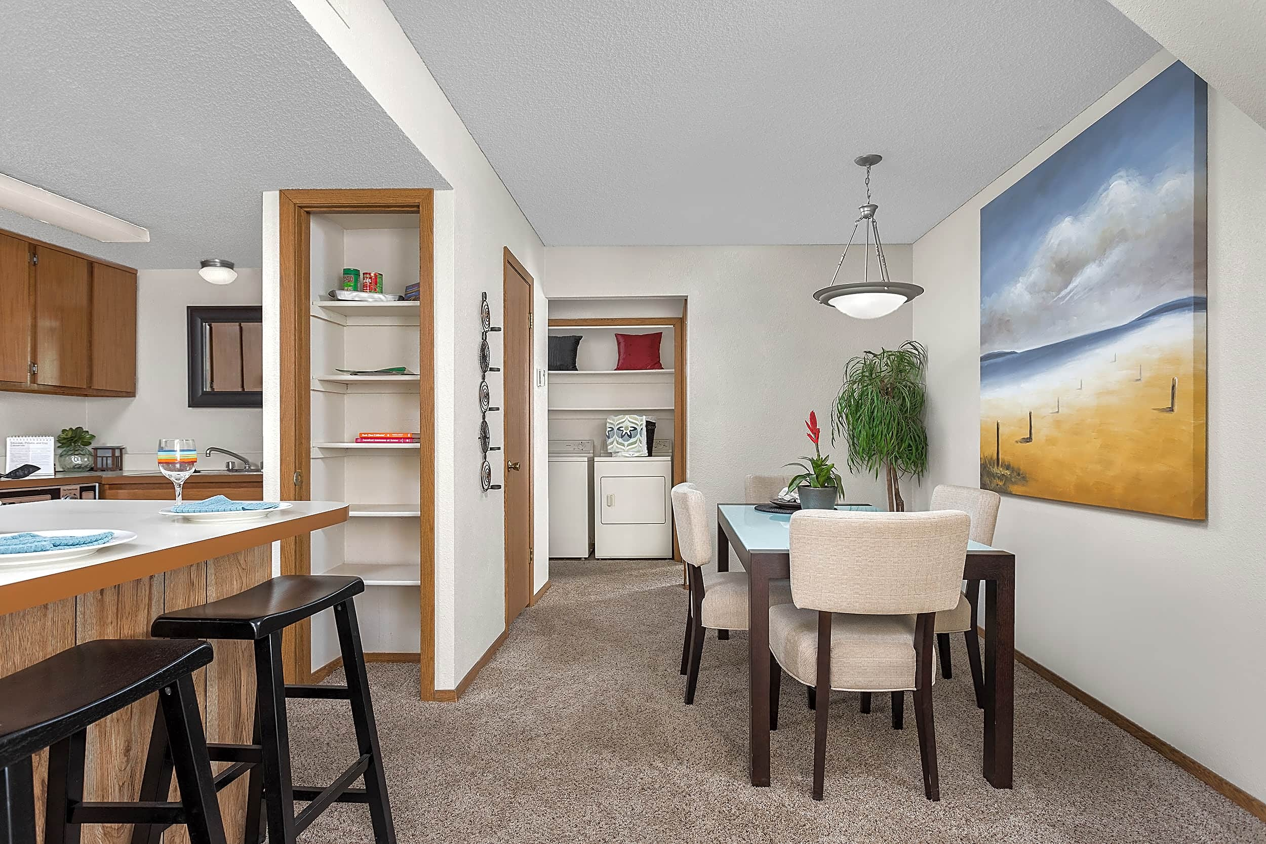 Open Dining Room, Kitchen and Breakfast Bar - Heritage Park Apartments