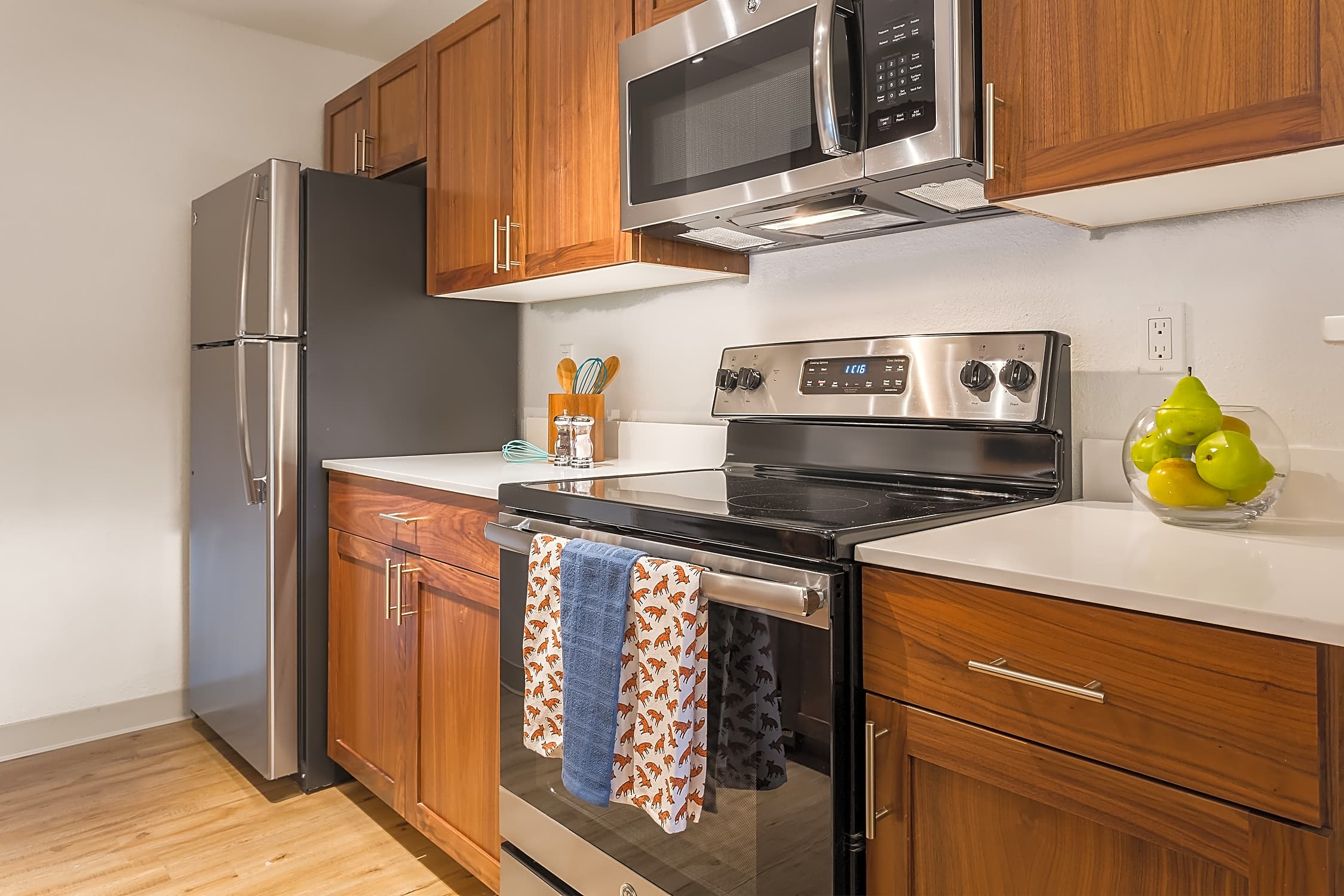 Beautiful all-wood cabinets. Artesia Apartments Everett, WA
