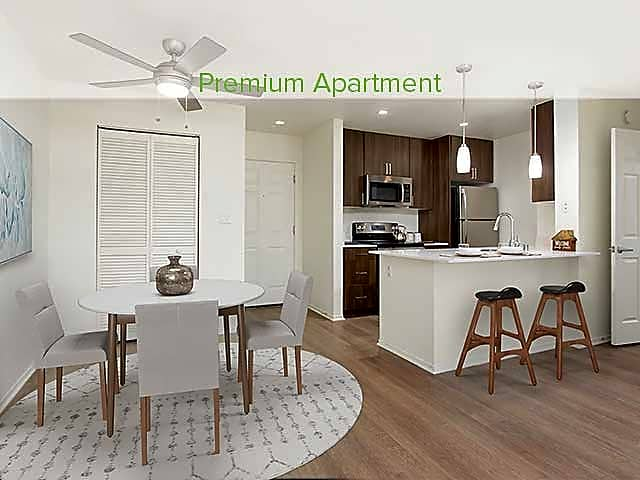 Premium Apartment Kitchen and Dining Area with Hard Surface Vinyl Plank Flooring