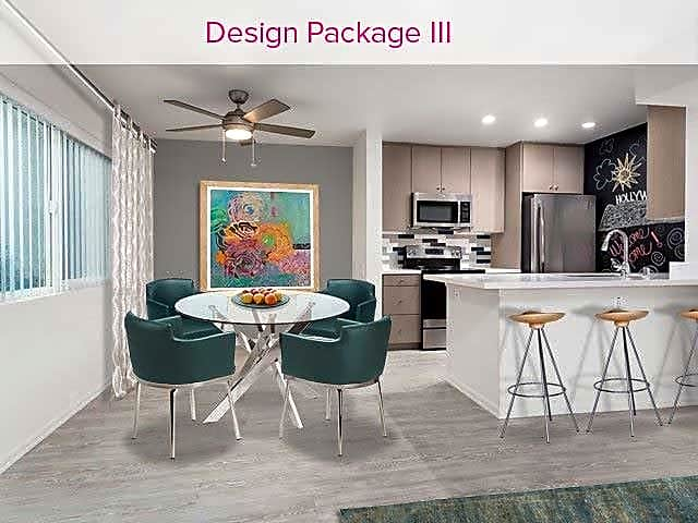 Design Package III Kitchen and Dining Area with hard surface vinyl plank flooring