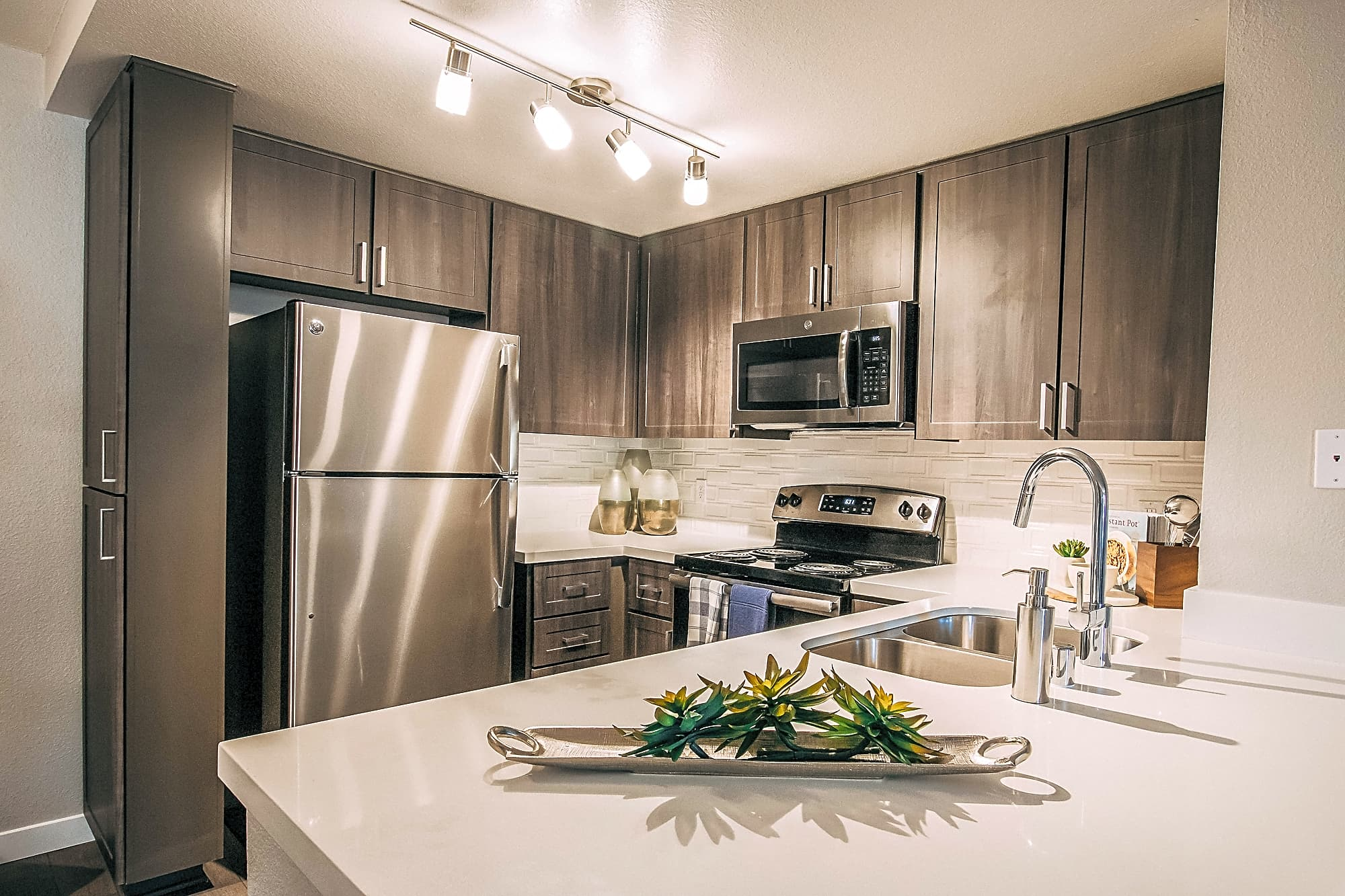 Quartz countertops in newly renovated kitchens