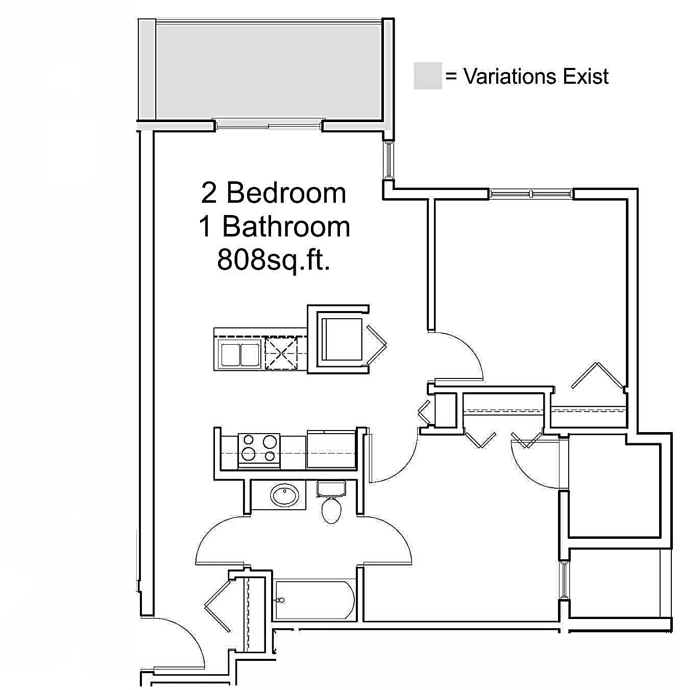 808sq.ft. 2 Bedroom 1 Bathroom