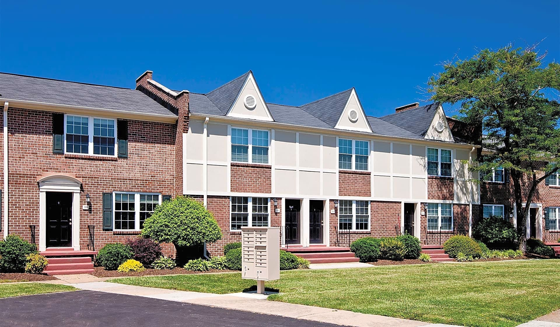 Townhome-style apartments in a wooded neighborhood