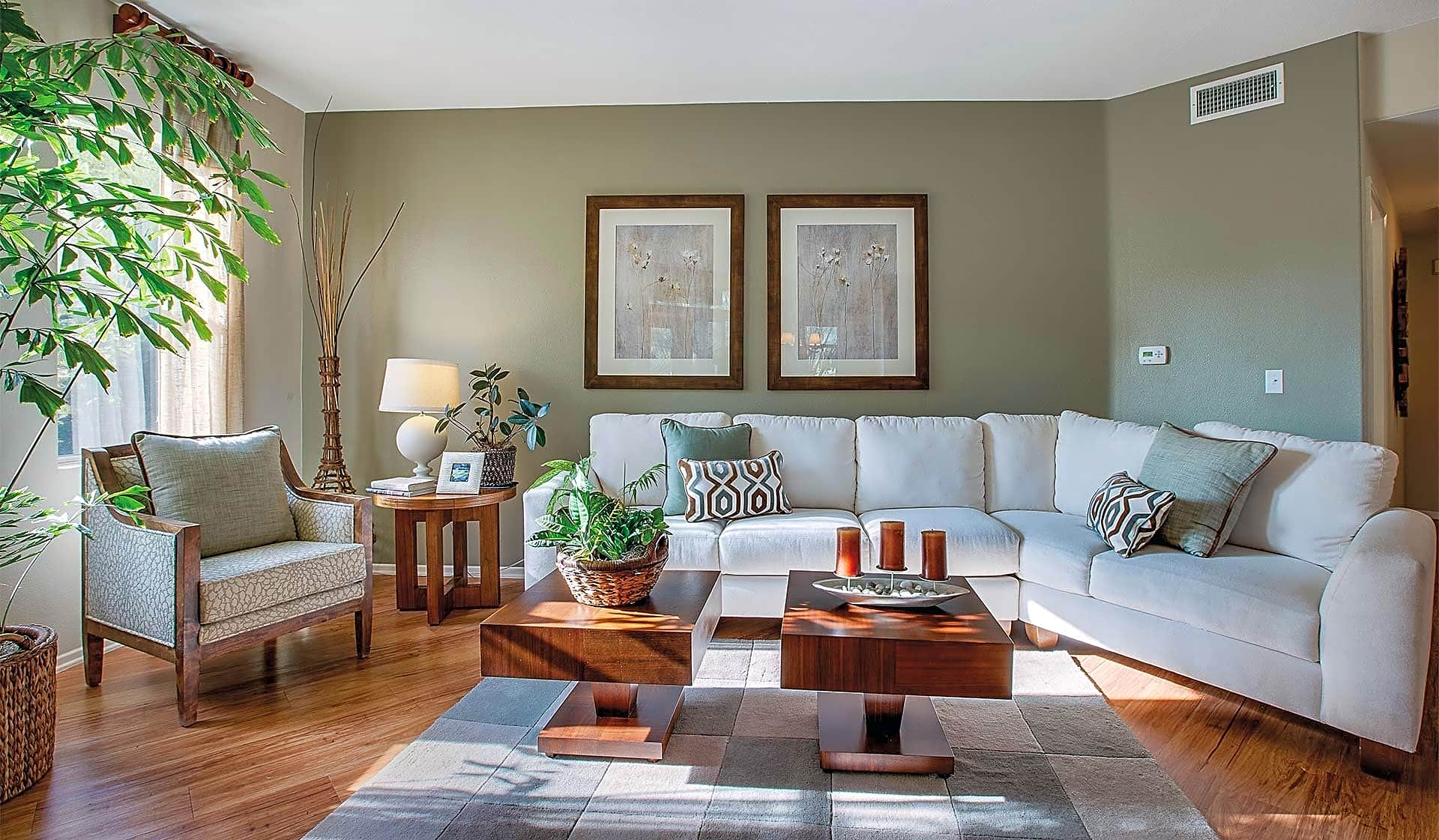 Enjoy spacious living rooms providing plenty of natural light and gas-burning fireplaces