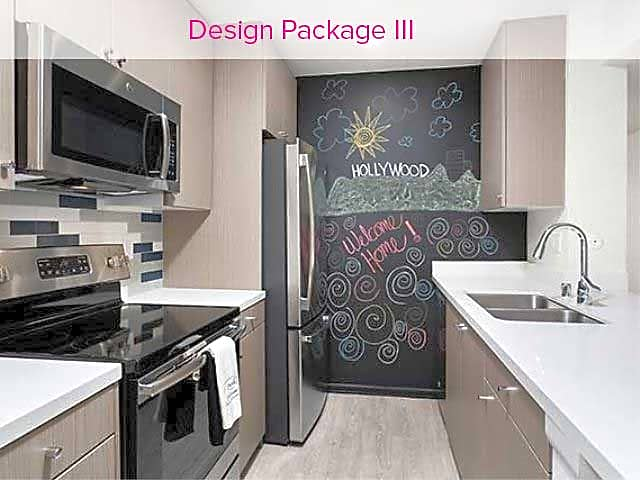 Design Package III Kitchen with hard surface vinyl plank flooring, stainless steel appliances, tile backsplash, and quartz countertops