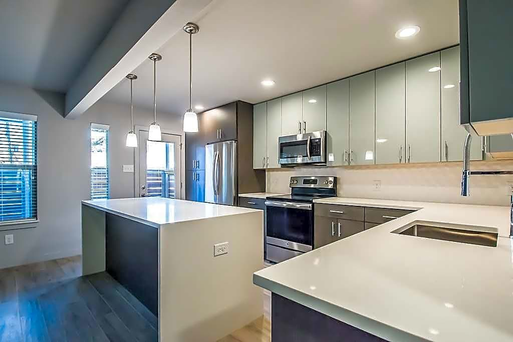Quartz countertops and chef style sink