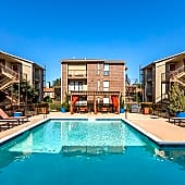 Poolside Sundeck and Cabanas - Vue at Knoll Trail Apartments