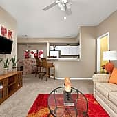 Open Living Room, Kitchen and Breakfast Bar - Bridge Pointe Apartments