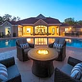 Enjoy summer nights at the poolside fire pit