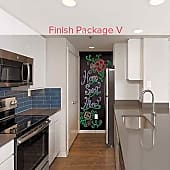 Renovated kitchen with grey quartz countertops, blue tile backsplash, white cabinetry, stainless steel appliances, and hard surface plank flooring (in select homes)