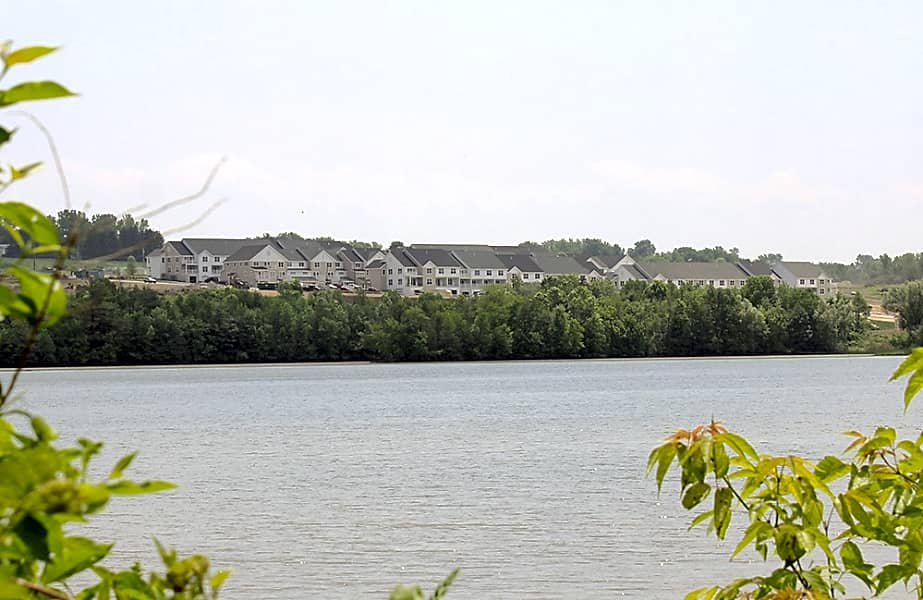 View of Shelter Cove Apartments from across the river
