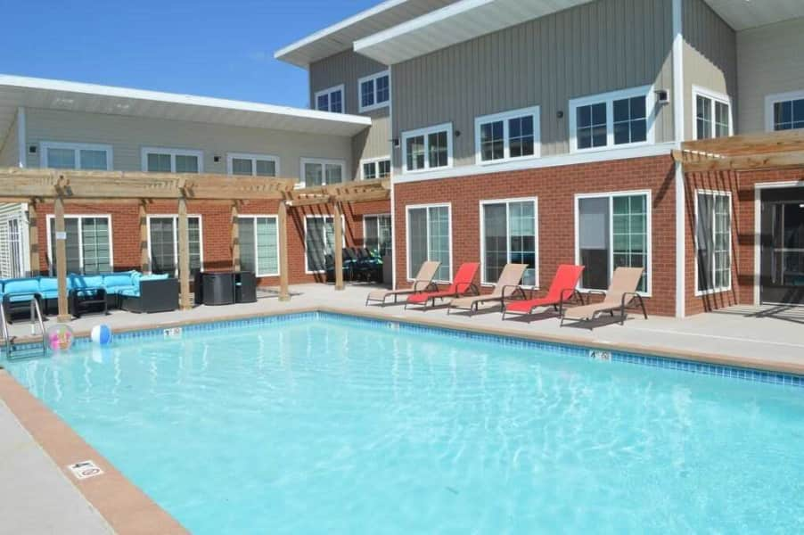 Sparkling heated pool