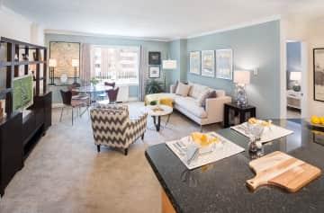 Arlington style living/dining room