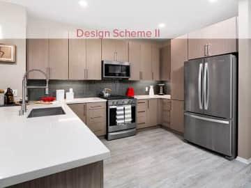 Design Scheme II Kitchen with quartz countertops, stainless steel appliances, and hard surface plank flooring