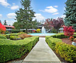 Colonial Square's well-maintained landscaping and fountain, Colonial Square