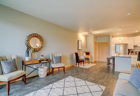 living room with hardwood flooring and stainless steel refrigerator, Latitude 43