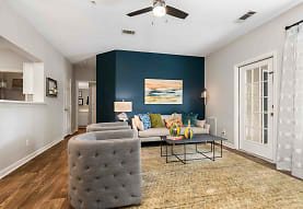 living room with a ceiling fan, Walden Pond