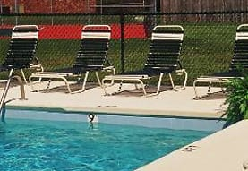 view of swimming pool featuring central AC, Riverwood Apartments