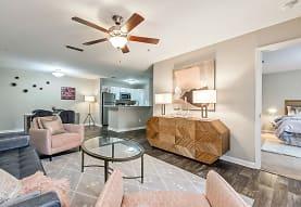 hardwood floored living room featuring a ceiling fan and refrigerator, Azalea Ridge