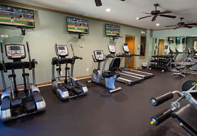 gym featuring a ceiling fan, carpet, and TV, Grove Park