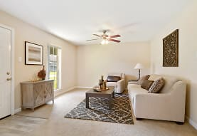 living room featuring carpet, natural light, and a ceiling fan, Ole London Towne