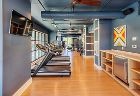 gym with parquet floors, natural light, beamed ceiling, and TV, Element 29