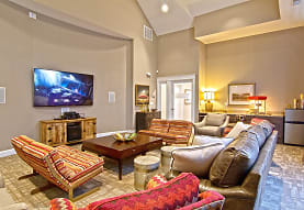 living room with lofted ceiling and TV, The Ravines at Westar