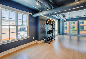 workout area with a wealth of natural light, hardwood flooring, and beamed ceiling, Element 29