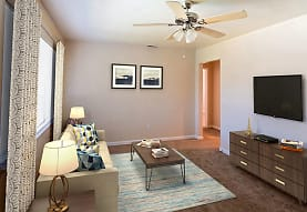 living room featuring carpet, a ceiling fan, and TV, Acadian and South College Gardens