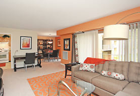 carpeted living room with range oven, The Apartments at Bonnie Ridge