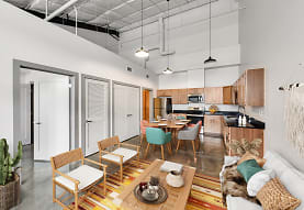 tiled dining room with refrigerator, microwave, and range oven, Bottle Art Lofts Apartments
