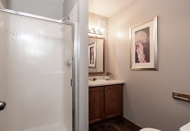 full bathroom featuring hardwood flooring, shower cabin, vanity with extensive cabinet space, mirror, and toilet, Creekstone Falls