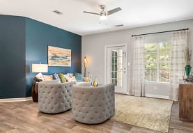 living room featuring a ceiling fan, parquet floors, and natural light, Walden Pond