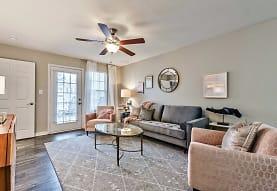 living room with hardwood floors and a ceiling fan, Azalea Ridge