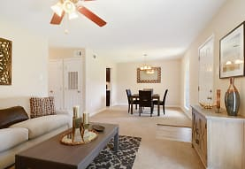 living room featuring a ceiling fan, Ole London Towne