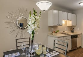 kitchen featuring stainless steel dishwasher, light countertops, dark parquet floors, pendant lighting, and white cabinetry, Bloomfield Square Apartments