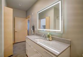 bathroom featuring tile flooring, mirror, and vanity, Latitude 43