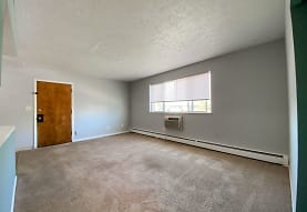 carpeted spare room featuring natural light and baseboard radiator, Eastlake Terrace & Maple Park Apartments