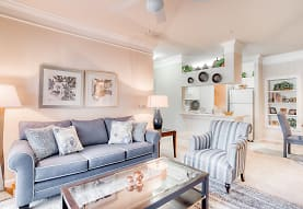 living room with a ceiling fan, carpet, and refrigerator, Preserve at Legacy Park