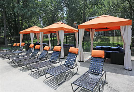view of patio / terrace with an outdoor living space, The Avenue Apartments